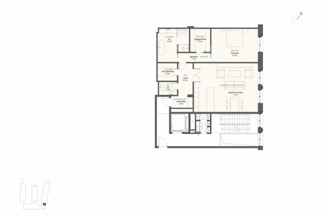 Многофункциональная комплексная застройка на Софийской набережной. План квартиры с 1 спальней © Сергей Скуратов ARCHITECTS