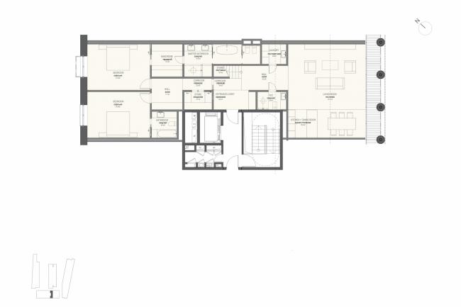 Многофункциональная комплексная застройка на Софийской набережной. План квартиры с 2 спальнями (тип 1) © Сергей Скуратов ARCHITECTS