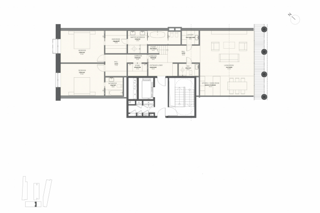 Multifunctional integrated development of the Sofiyskaya Embankment. Plan of the apartment with two bedrooms (Type 1) © Sergey Skuratov ARCHITECTS