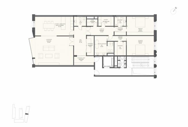 Многофункциональная комплексная застройка на Софийской набережной. План квартиры с 2 спальнями (тип 2) © Сергей Скуратов ARCHITECTS