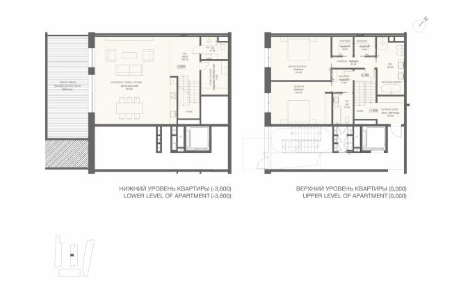 Многофункциональная комплексная застройка на Софийской набережной. План двухуровневой квартиры с 2 спальнями © Сергей Скуратов ARCHITECTS