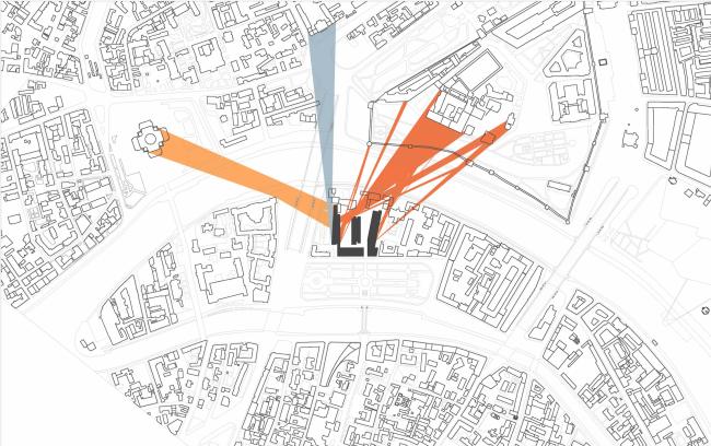 Многофункциональная комплексная застройка на Софийской набережной. Схема видов 1 этажа © Сергей Скуратов ARCHITECTS