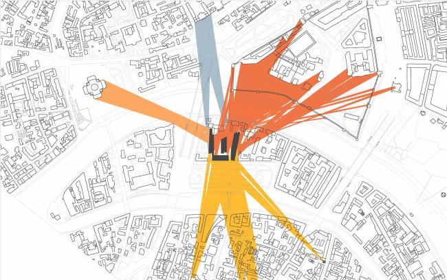 Многофункциональная комплексная застройка на Софийской набережной. Схема видов 2 этажа © Сергей Скуратов ARCHITECTS