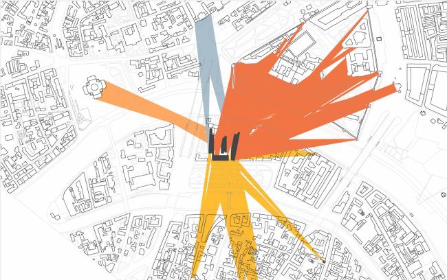 Многофункциональная комплексная застройка на Софийской набережной. Схема видов 3 этажа © Сергей Скуратов ARCHITECTS