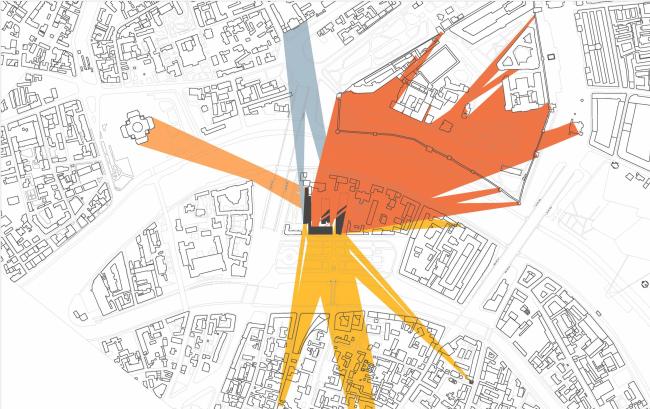 Многофункциональная комплексная застройка на Софийской набережной. Схема видов 4 этажа © Сергей Скуратов ARCHITECTS