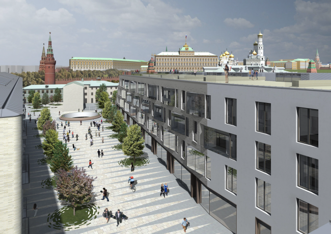 Multifunctional integrated development of the Sofiyskaya Embankment. View from the roof © Sergey Skuratov ARCHITECTS