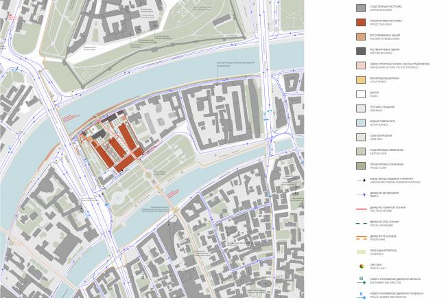 Многофункциональная комплексная застройка на Софийской набережной. Пешеходно-транспортная схема © Сергей Скуратов ARCHITECTS