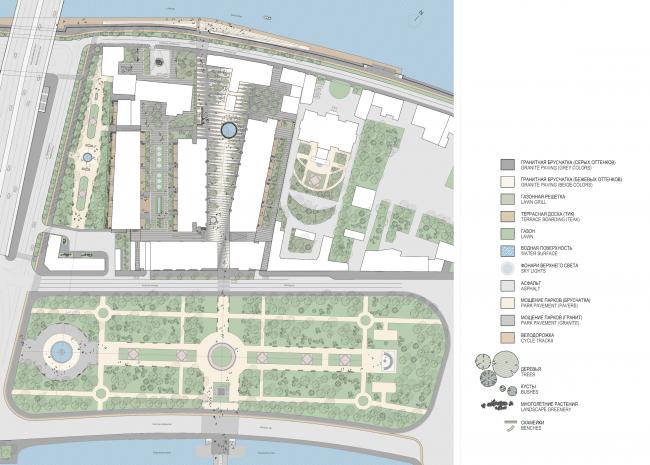 Многофункциональная комплексная застройка на Софийской набережной. План благоустройства © Сергей Скуратов ARCHITECTS