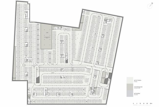 Многофункциональная комплексная застройка на Софийской набережной. План -2 этажа © Сергей Скуратов ARCHITECTS
