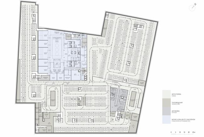 Многофункциональная комплексная застройка на Софийской набережной. План -1 этажа © Сергей Скуратов ARCHITECTS
