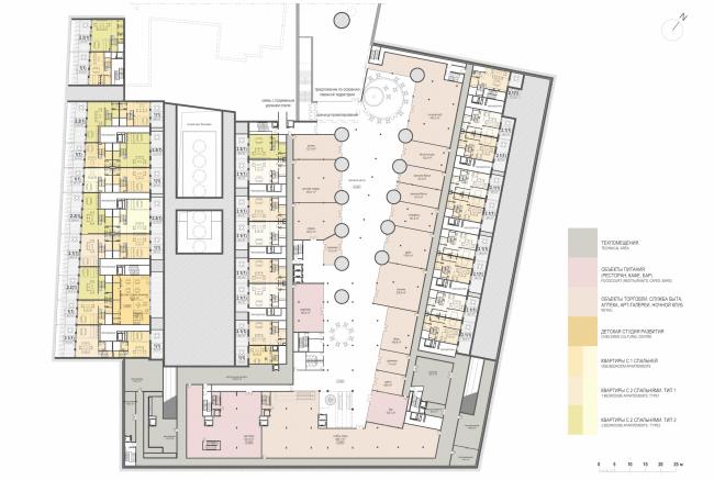 Многофункциональная комплексная застройка на Софийской набережной. План цокольного этажа © Сергей Скуратов ARCHITECTS