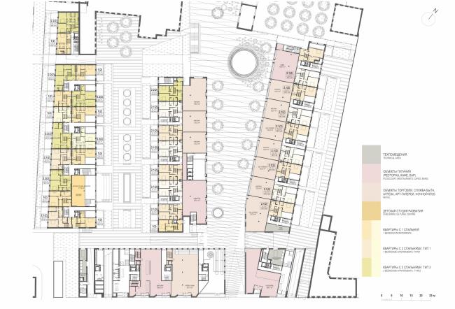 Многофункциональная комплексная застройка на Софийской набережной. План 1 этажа © Сергей Скуратов ARCHITECTS