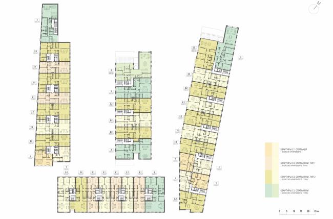 Многофункциональная комплексная застройка на Софийской набережной. План 3 этажа © Сергей Скуратов ARCHITECTS