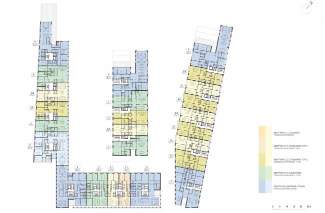 Многофункциональная комплексная застройка на Софийской набережной. План 4 этажа © Сергей Скуратов ARCHITECTS