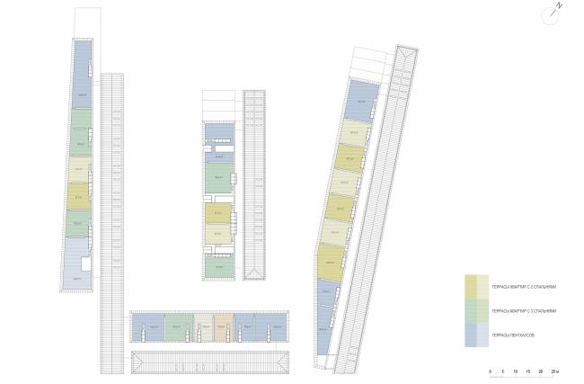 Многофункциональная комплексная застройка на Софийской набережной. План кровли © Сергей Скуратов ARCHITECTS