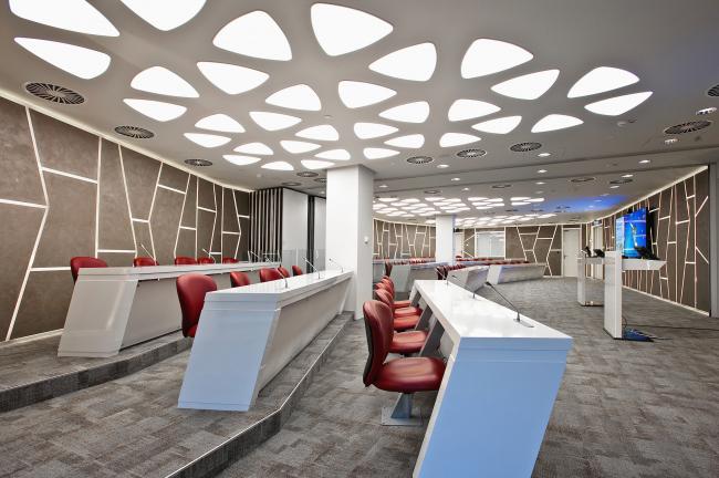 Conference hall in Johnson & Johnson Visual Care Institute © Sergey Estrin architectural studio