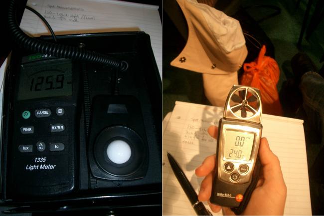 Измеритель уровня внутреннего света и термометр с измерителем влажности воздуха и с измерителем скорости движения воздуха.