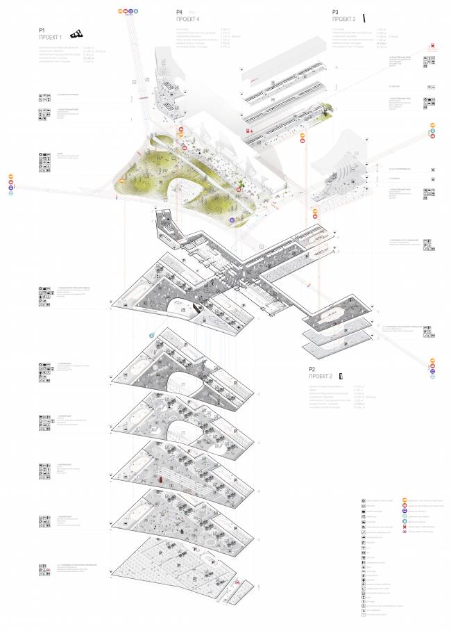 "The project for a transfer hub ""Paveletskaya"". General layout. 2015 © WALL bureau"