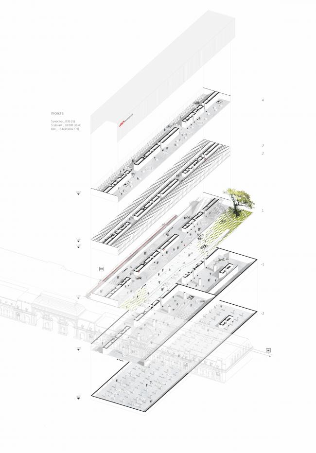 Проект транспортно-пересадочного узла «Павелецкая». Проект 3. 2015 © Архитектурное бюро WALL