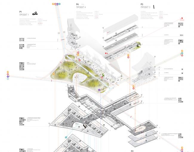 Проект транспортно-пересадочного узла «Павелецкая». Фрагмент схемы. 2015 © Архитектурное бюро WALL