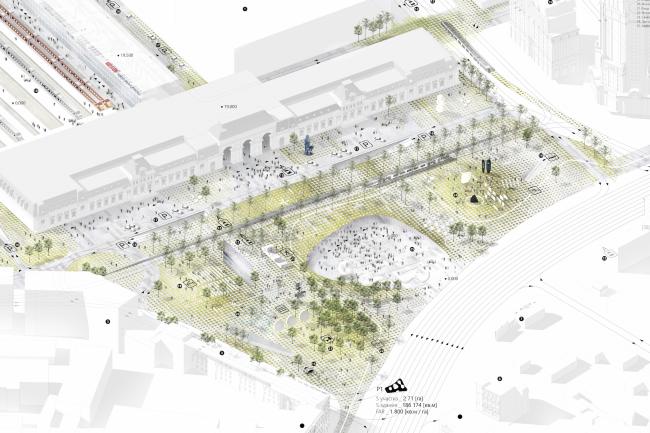 "The project for a transfer hub ""Paveletskaya"". Axonomentry. 2015 © WALL bureau"