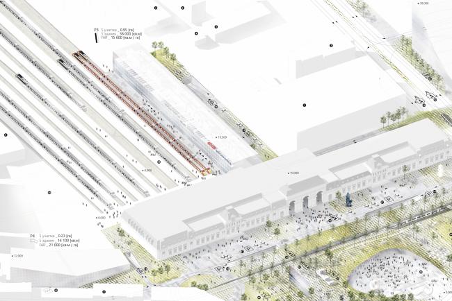 Проект транспортно-пересадочного узла «Павелецкая». Аксонометрия. 2015 © Архитектурное бюро WALL