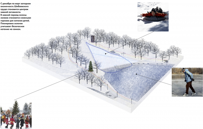 Парк «Кузьминки». Зона Шибаевского пруда. Зима © Архитектурное бюро Практика