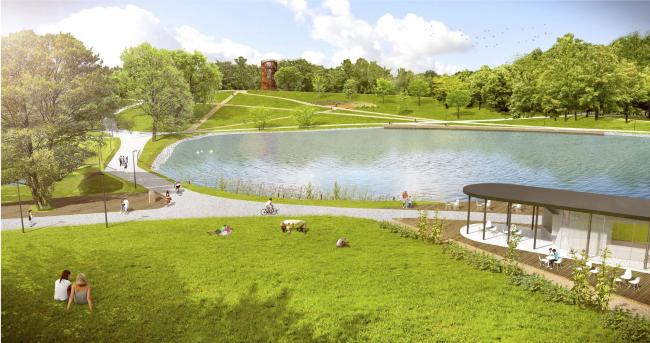 Парк «Кузьминки». Зона Шибаевского пруда © Архитектурное бюро Практика