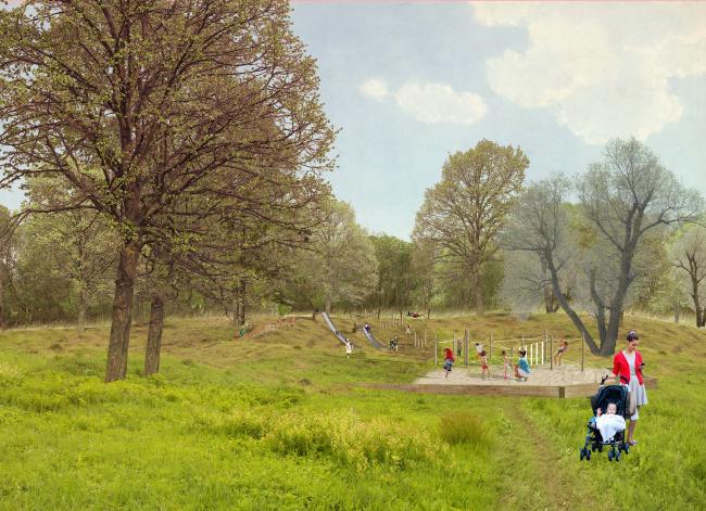 Парк «Кузьминки». Детский маршрут. Детская площадка с горками на холме © Alphabet city