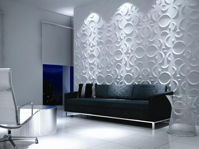 Гипсовые 3D панели в интерьере. Фото предоставлено ЗАО «Самарским гипсовым комбинатом»