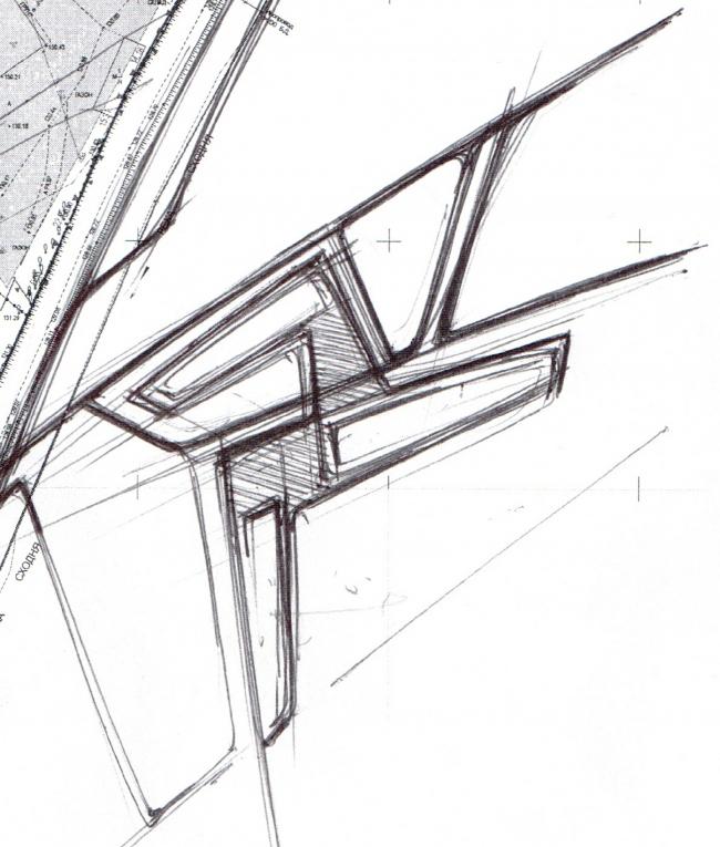The concept of the hotel complex Radisson Blu Moscow Riverside. Sketch © 4izmerenie