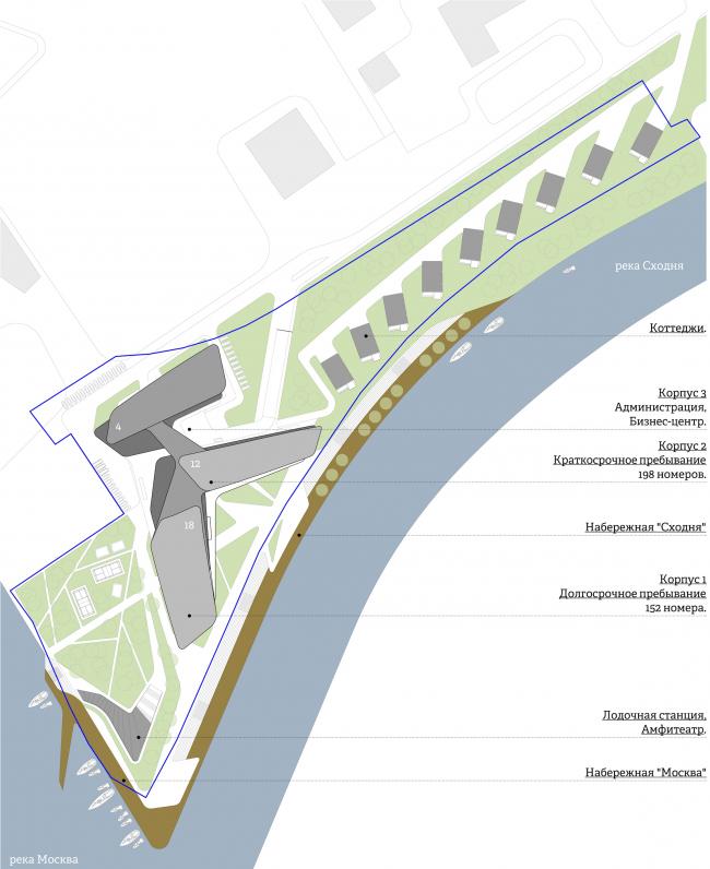 The concept of the hotel complex Radisson Blu Moscow Riverside. Master plan © 4izmerenie