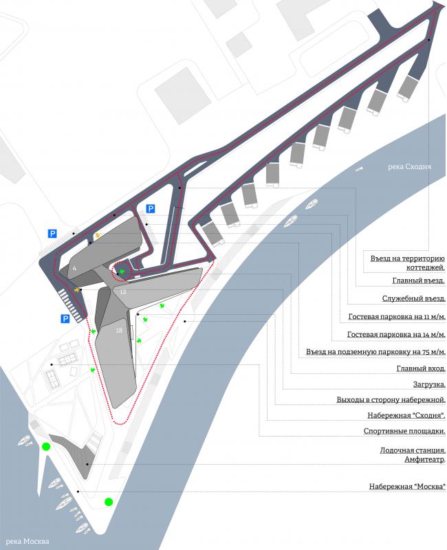 Концепция гостиничного комплекса Radisson Blu Moscow Riverside. Схема движения транспорта и пешеходов © Четвертое измерение