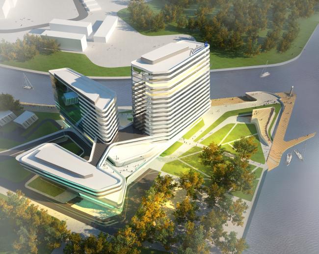 The concept of the hotel complex Radisson Blu Moscow Riverside. Bird's eye view © 4izmerenie