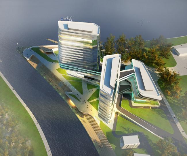 Концепция гостиничного комплекса Radisson Blu Moscow Riverside. Вид с высоты птичьего полета © Четвертое измерение
