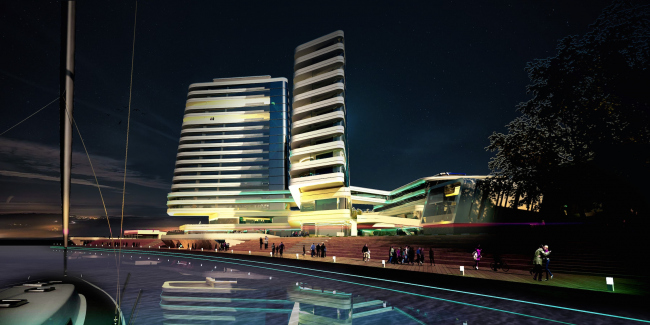 The concept of the hotel complex Radisson Blu Moscow Riverside © 4izmerenie
