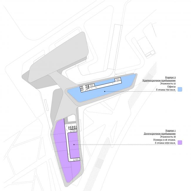 Концепция гостиничного комплекса Radisson Blu Moscow Riverside. План 12 этажа © Четвертое измерение