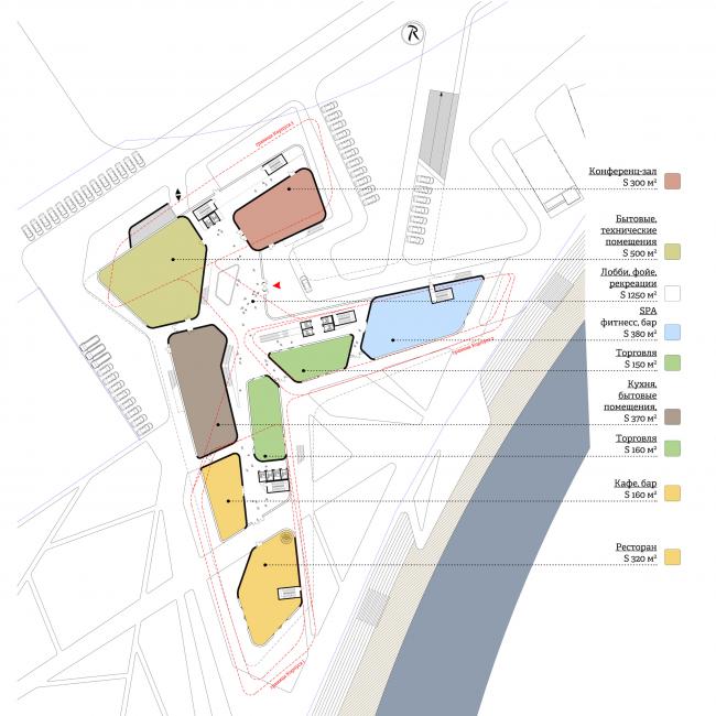 Концепция гостиничного комплекса Radisson Blu Moscow Riverside. План 1 этажа © Четвертое измерение