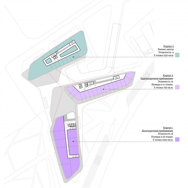 Концепция гостиничного комплекса Radisson Blu Moscow Riverside. План 3 этажа © Четвертое измерение
