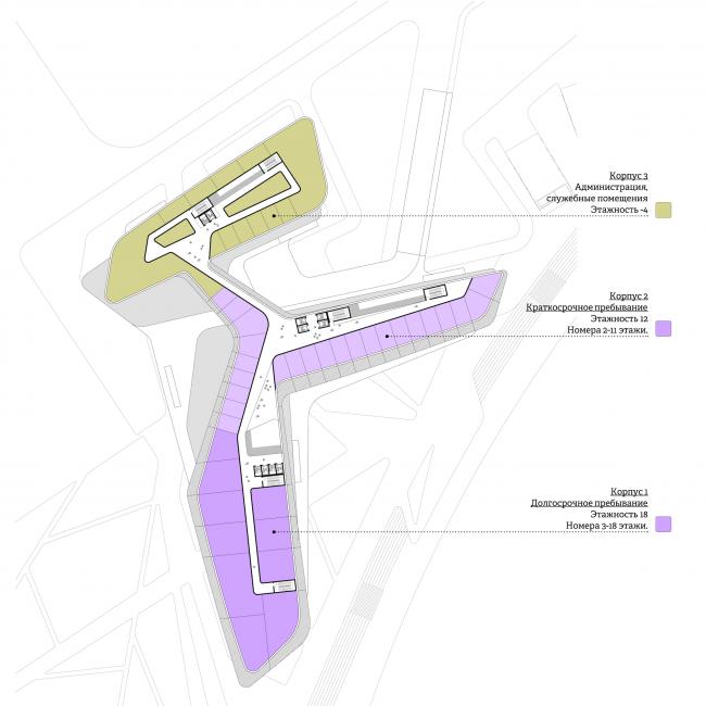 Концепция гостиничного комплекса Radisson Blu Moscow Riverside. План 4 этажа © Четвертое измерение
