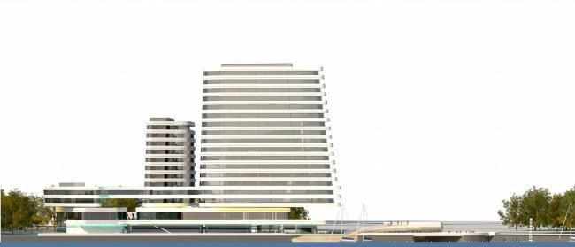 Концепция гостиничного комплекса Radisson Blu Moscow Riverside. Юго-западный фасад со стороны Москвы-реки © Четвертое измерение