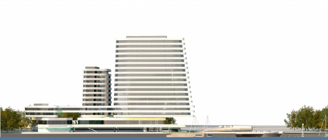 The concept of the hotel complex Radisson Blu Moscow Riverside. Southwest facade commanding the Moskva River © 4izmerenie
