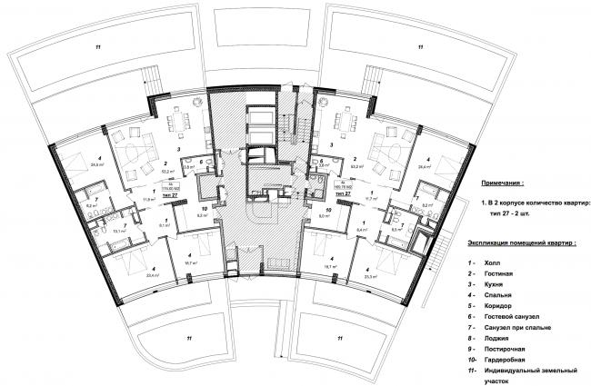 «Сколково-парк». План 1 этажа 2 корпуса, 2010 © ТПО «Резерв»