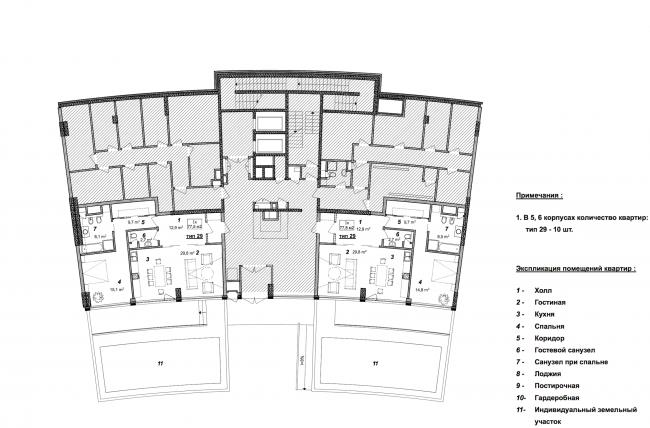«Сколково-парк». План 1 этажа 5, 6 корпусов, 2010 © ТПО «Резерв»