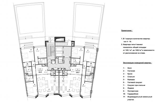«Сколково-парк». План 2 этажа с палисадником 1 корпуса, 2010 © ТПО «Резерв»