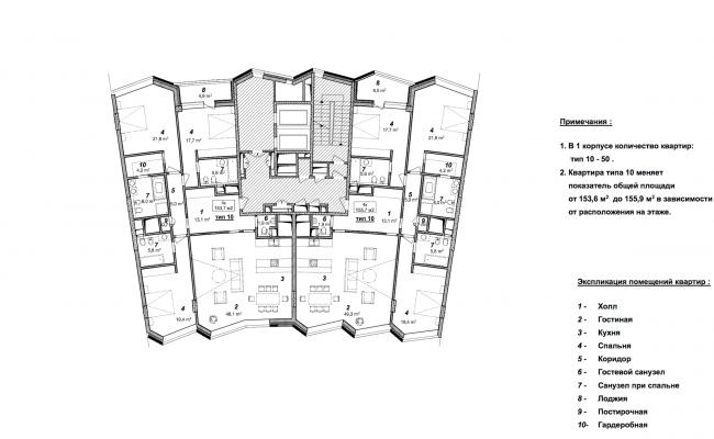 «Сколково-парк». План типового этажа 1 корпуса, 2010 © ТПО «Резерв»