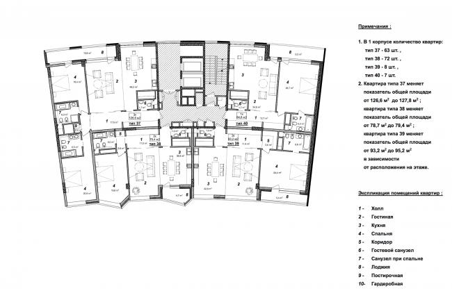 «Сколково-парк». План типового этажа 6 корпуса, 2010 © ТПО «Резерв»
