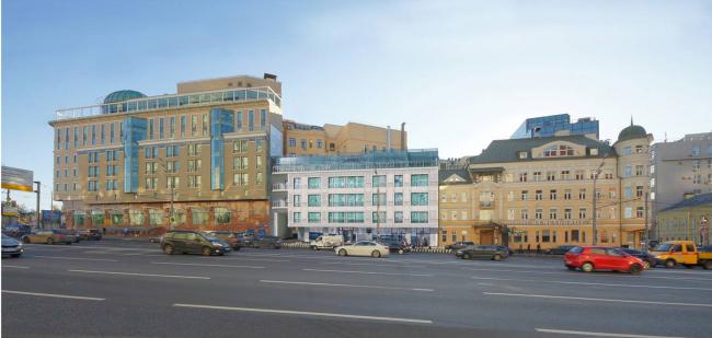 Административно-деловое здание в Мясницком проезде. Первый вариант. Проектная организация: «ЭПИ Моспроект-5». Заказчик: «Вектор»