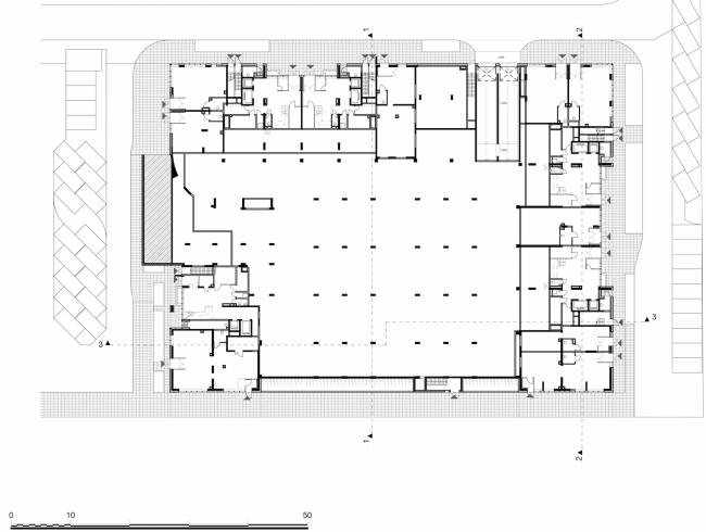 Residential complex in the proximity of the Nagatinsky Creek. Plan of the first floor © Ostozhenka