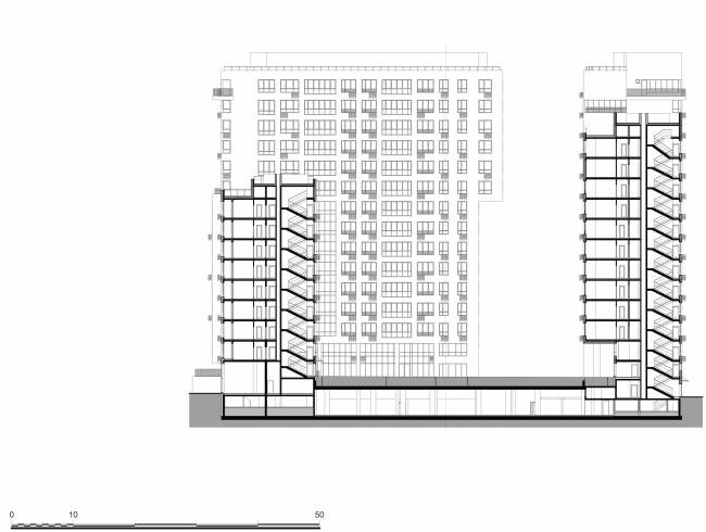 Жилой комплекс в районе Нагатинского затона. Разрез © АБ Остоженка